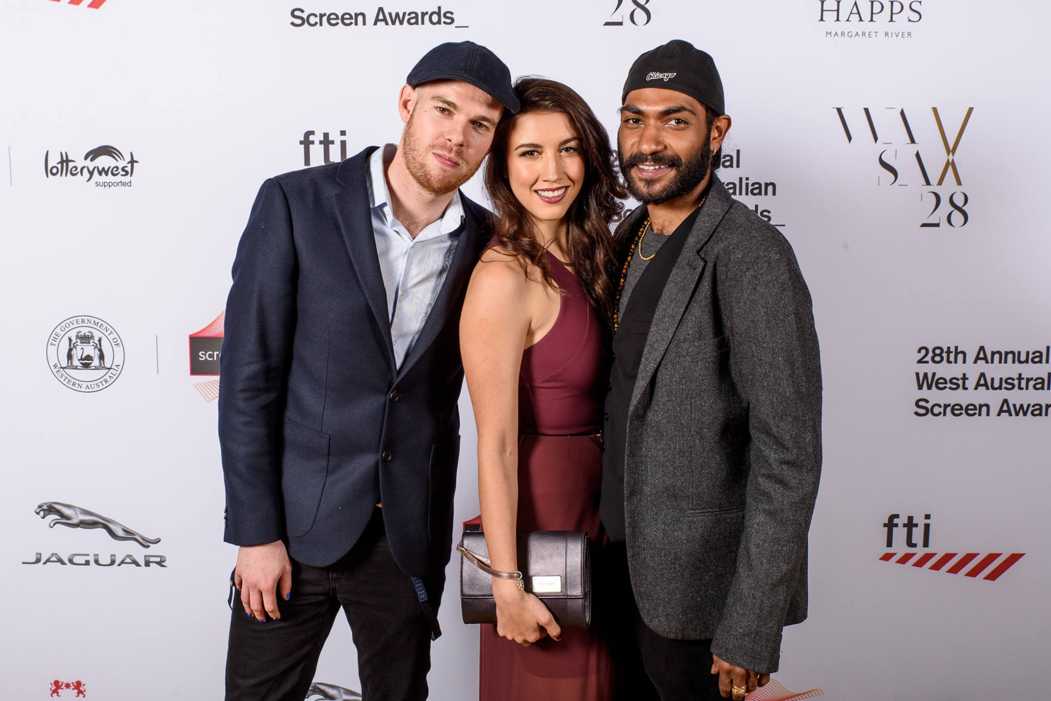 David Vincent Smith, Alexandra Nell and Clarence Ryan at the West Australian Screen Awards