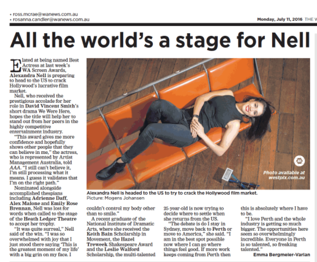All the world's a stage for Nell The West Australian Written by: Emma Bergmeier-Varian (2016)