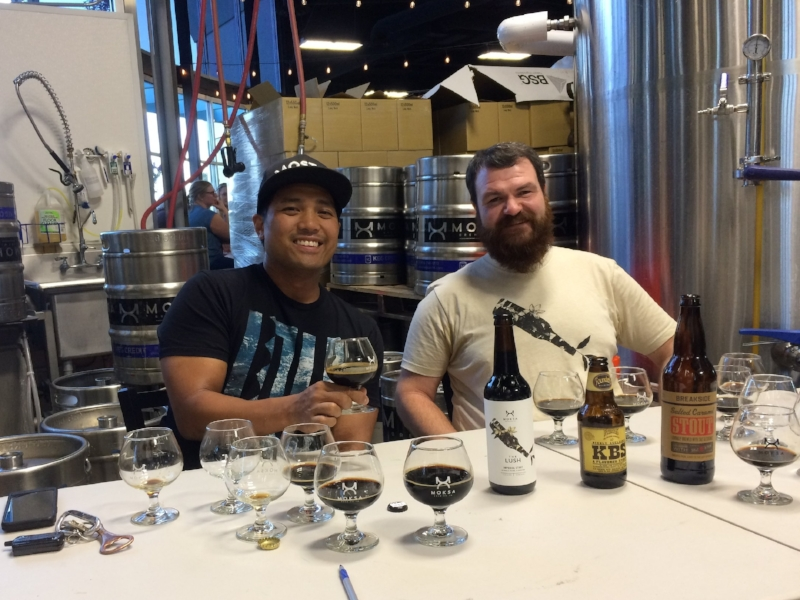 Derek Gallanosas and Corey Meyer are the masterminds behind the Moksa stouts. Photo by Bob Moffitt