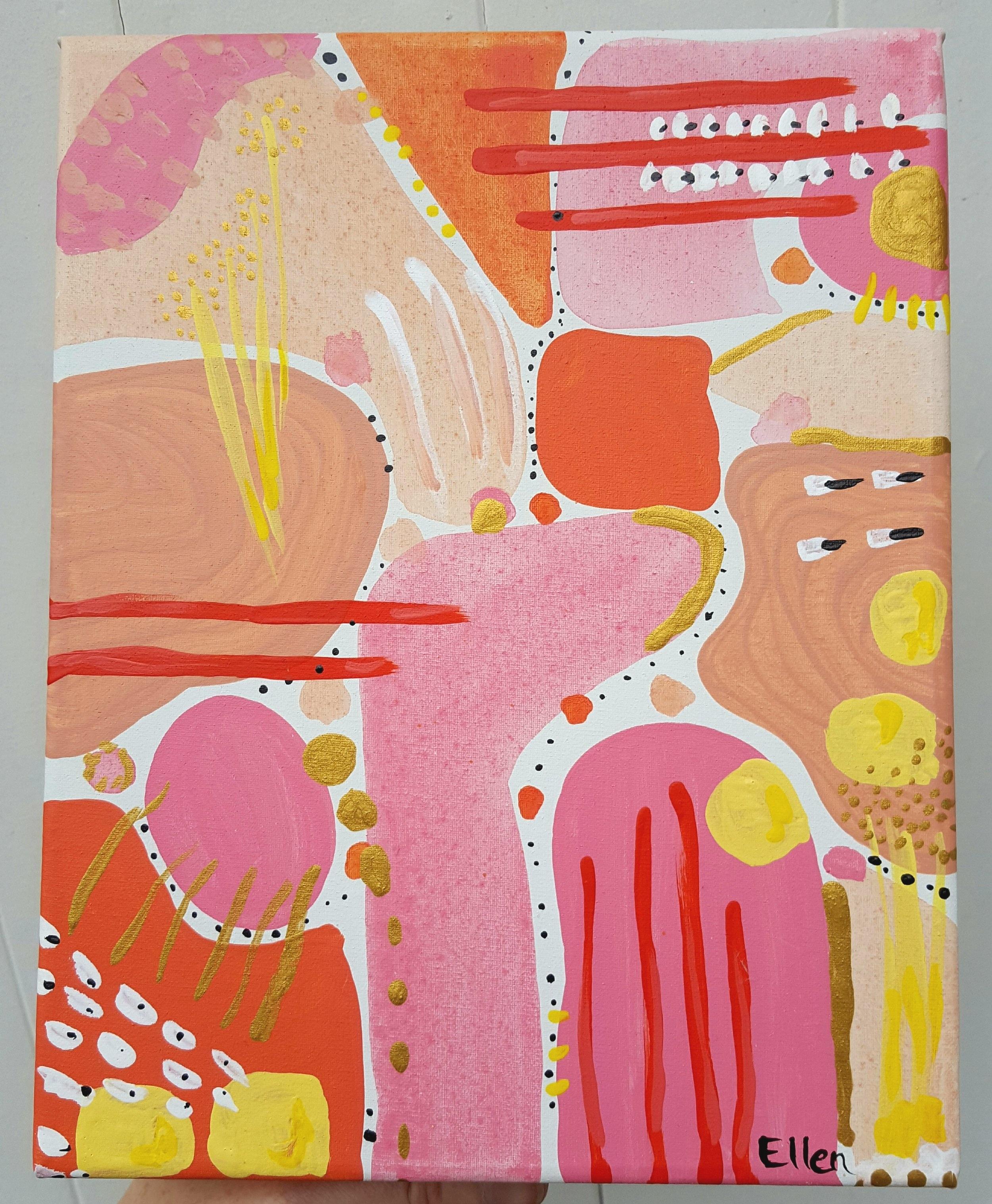 'Follow the leader'  acrylic on canvas, 190mm x 250mm $65