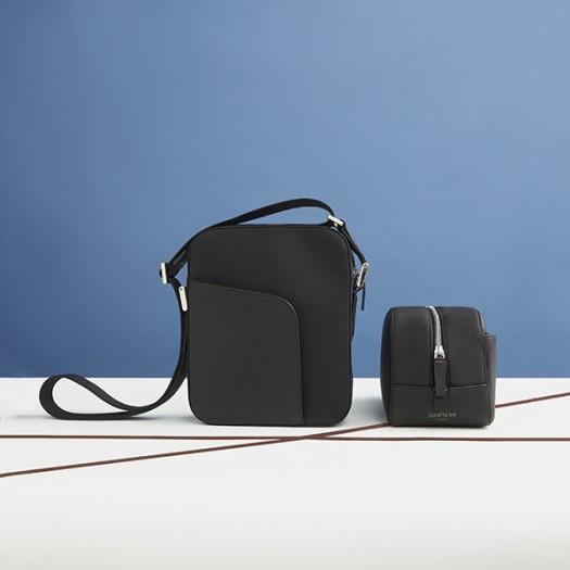 From Left to Right:   Mini Shoulder Bag in Black (FG00736201)  Calf Hide Washbag in Black (FG00135701)
