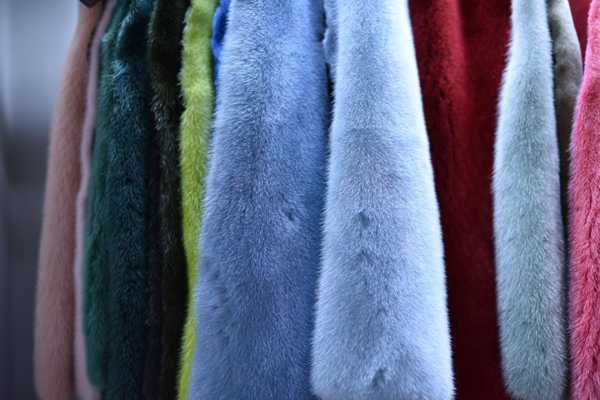 Natural ? blue mink, green mink, pink mink. Those pelts originated from factory farms were dyed with chemicals.