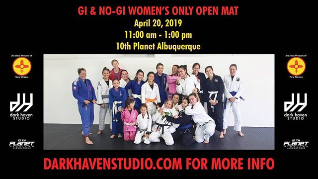 TOMORROW! TOMORROW! TOMORROW! ・・・ NO-GI & GI WOMENS OPEN MAT 11-1 pm All schools welcome | No mat fee . Followed by our Saturday Open Mat at 1 pm. . #darkhavenstudio #10pabq #jiujitsu #wrestling #submissiongrappling #muaythai #kickboxing #505 #burque #dukecityigers #enterthedarkness #growthandevolution