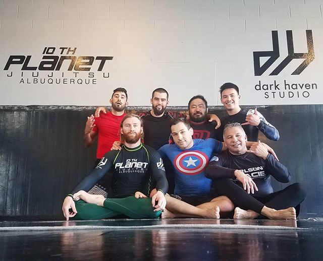 Hell of a Friday noon class. . Two black belts, one brown, one purple, and one blue on the mat. . NOONJAS Mon | Wed |Fri 12-1 pm . OPEN MAT  Every Saturday  1 pm All are welcome | No mat fee . #darkhavenstudio #10pabq #jiujitsu #wrestling #submissiongrappling #muaythai #kickboxing #505 #burque #dukecityigers #enterthedarkness #growthandevolution #10p4l #10wo #eddiebravo