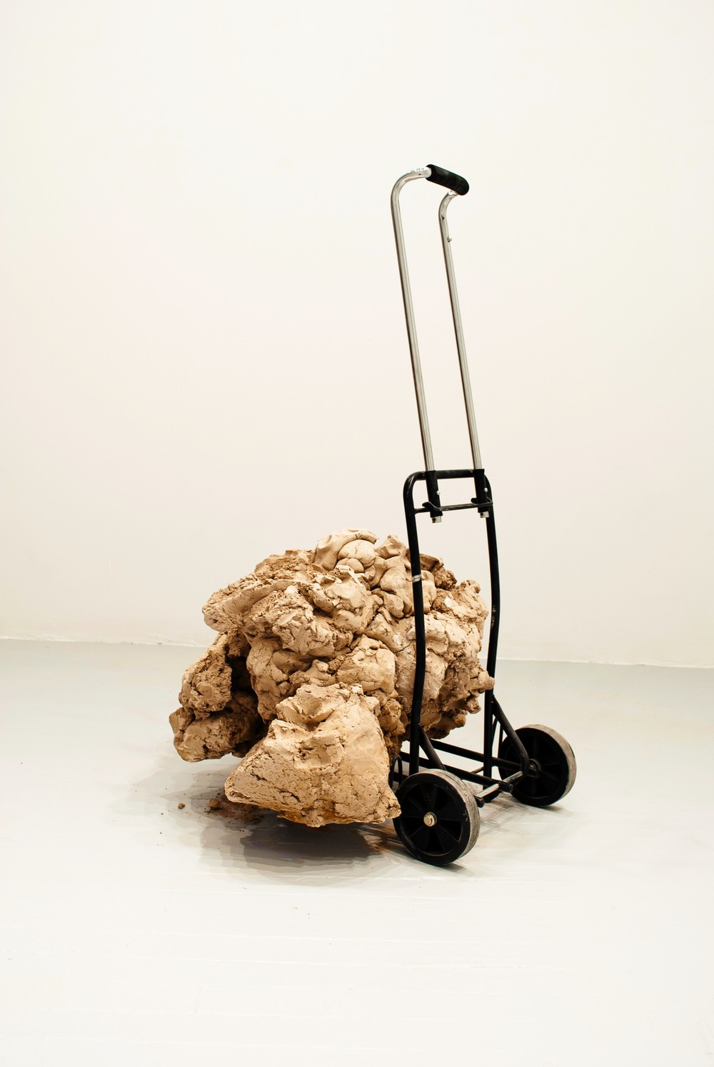 """BEN PETERSON - A little extra baggage - Unfired clay (terracruda), readymade luggage cart,36""""x28""""x25"""""""