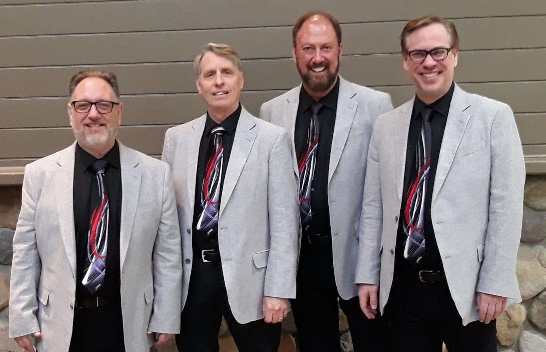 From Left to Right:  Jeff Woodruff (Bari.), Jim Dippel (Lead), Ken Klein (Bass), Rick Anderson (Tenor)