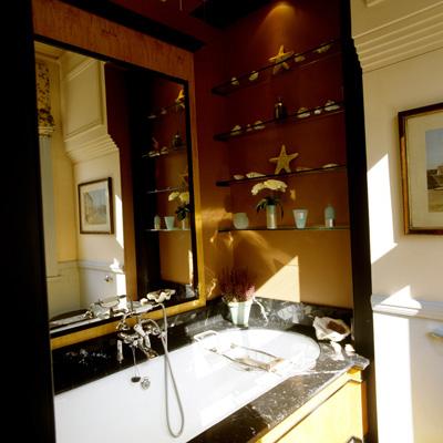 Bathroom hidden behind sliding doors.