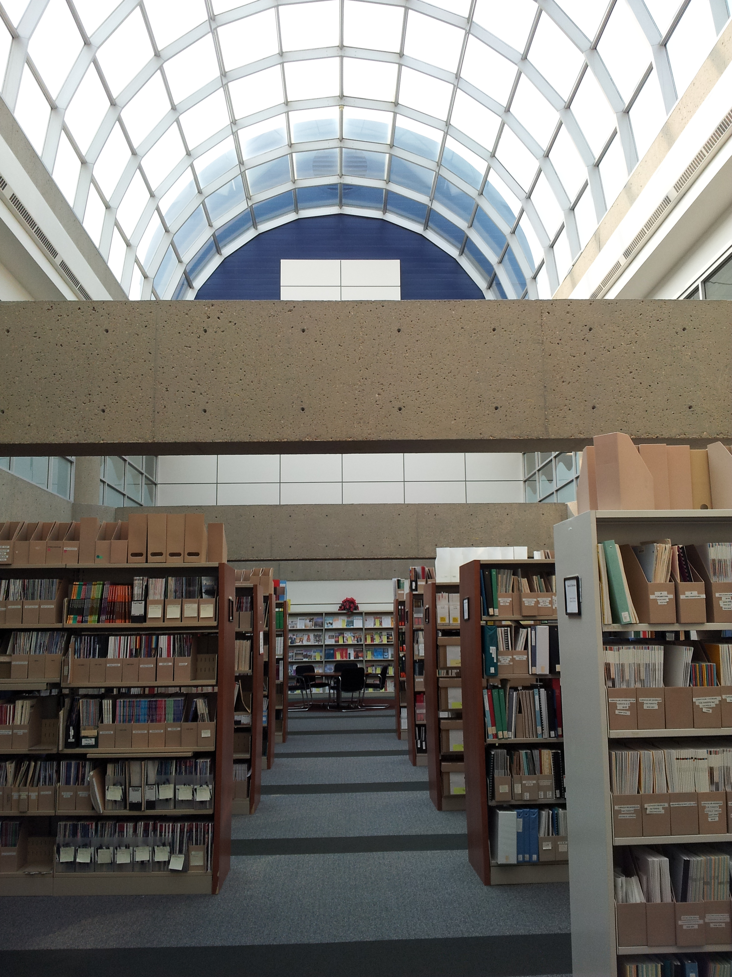 The periodicals and legacy collections area (where yoga happens). Let there be natural light!