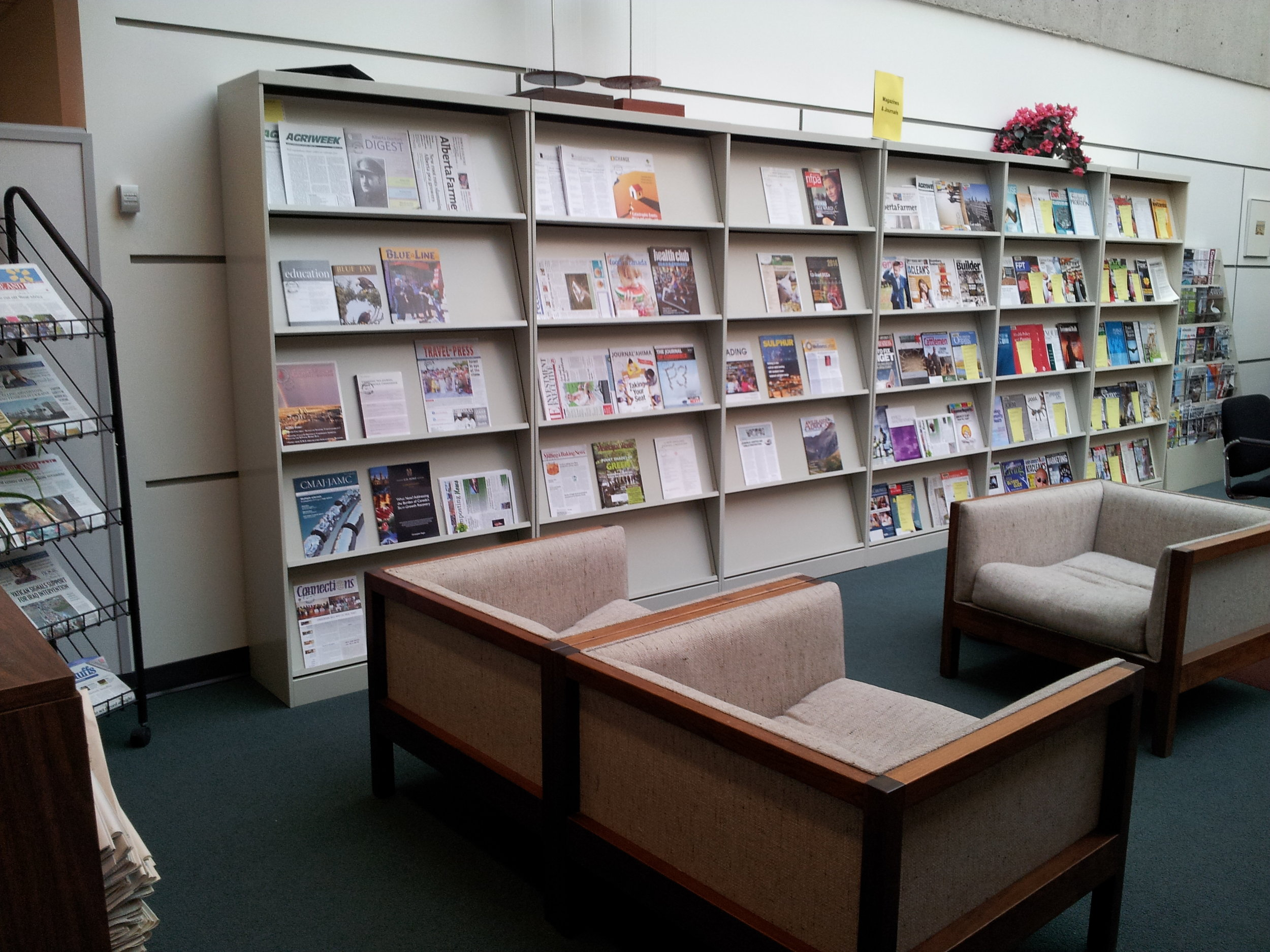 The periodicals and lounge area. Jane said people come here to read their newspapers while having lunch, but also naps.