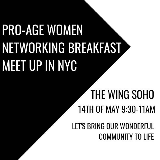Good Friday morning. So excited..working on my breakfast event which is coming up this Tuesday May 14th at The SoHo Wing in NYC. Twenty fabulous Pro-Age Women coming together to share thoughts, ideas and style!! How fantastic!! DM if want to attend. Will keep you posted..
