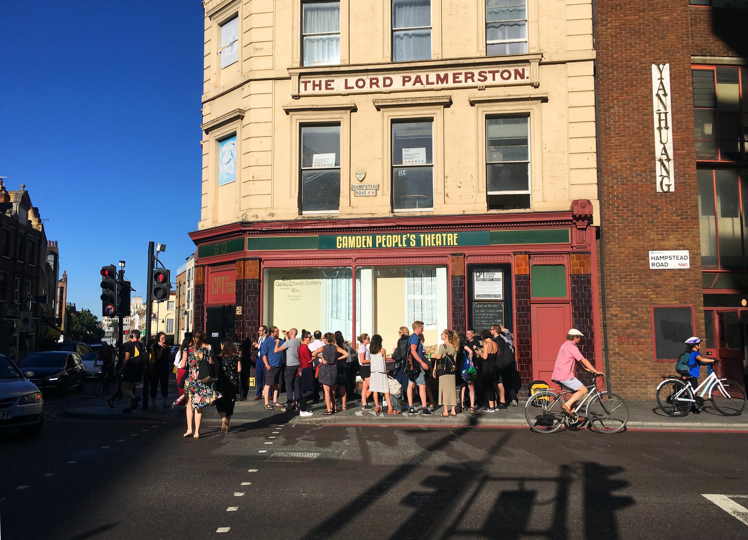 Summer 2018. Erin hughes, 'Floored', Camden Peoples Theatre windows.