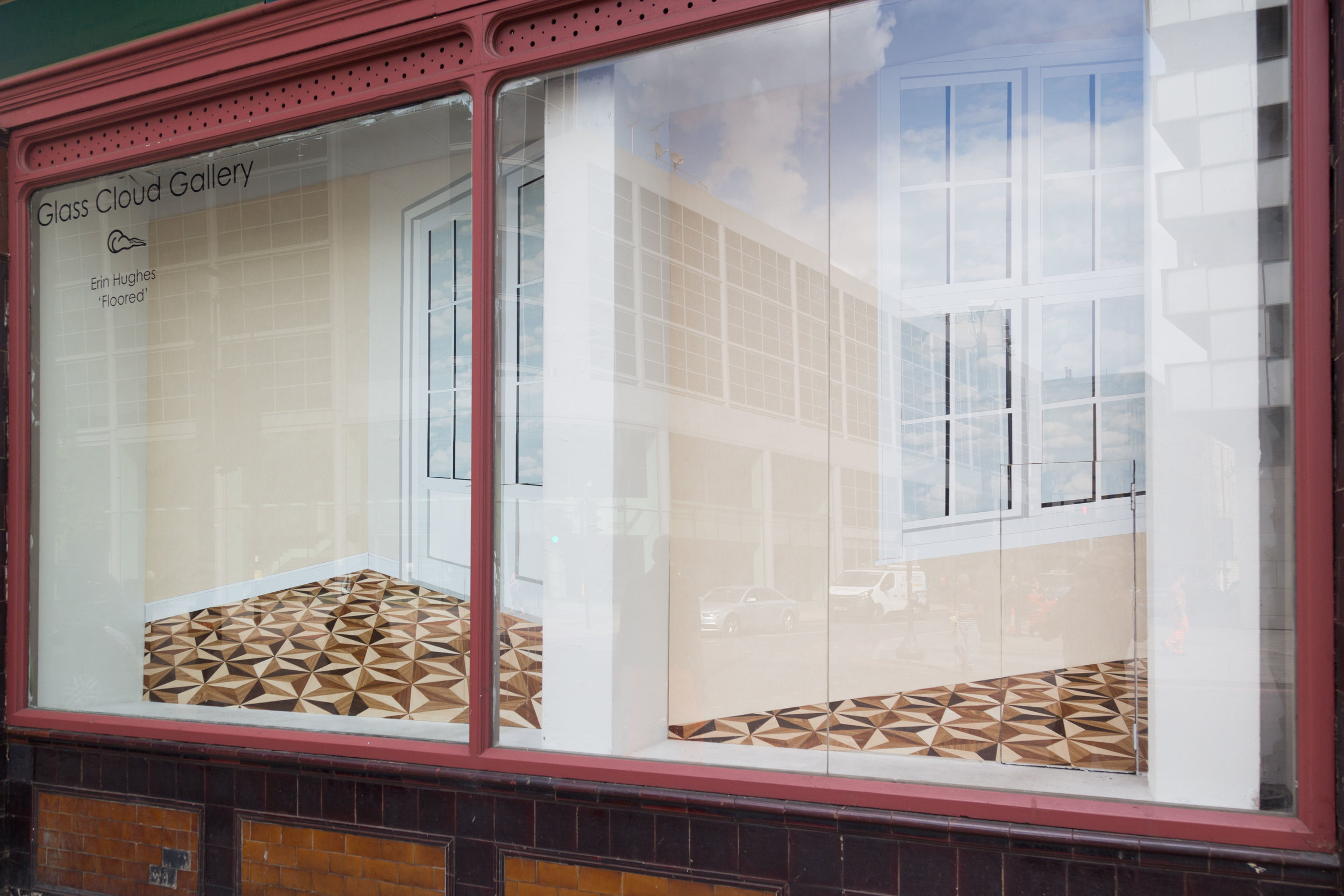 Erin Hughes, 'Floored' at Glass Cloud Gallery. MDF, wallpaper and folie.
