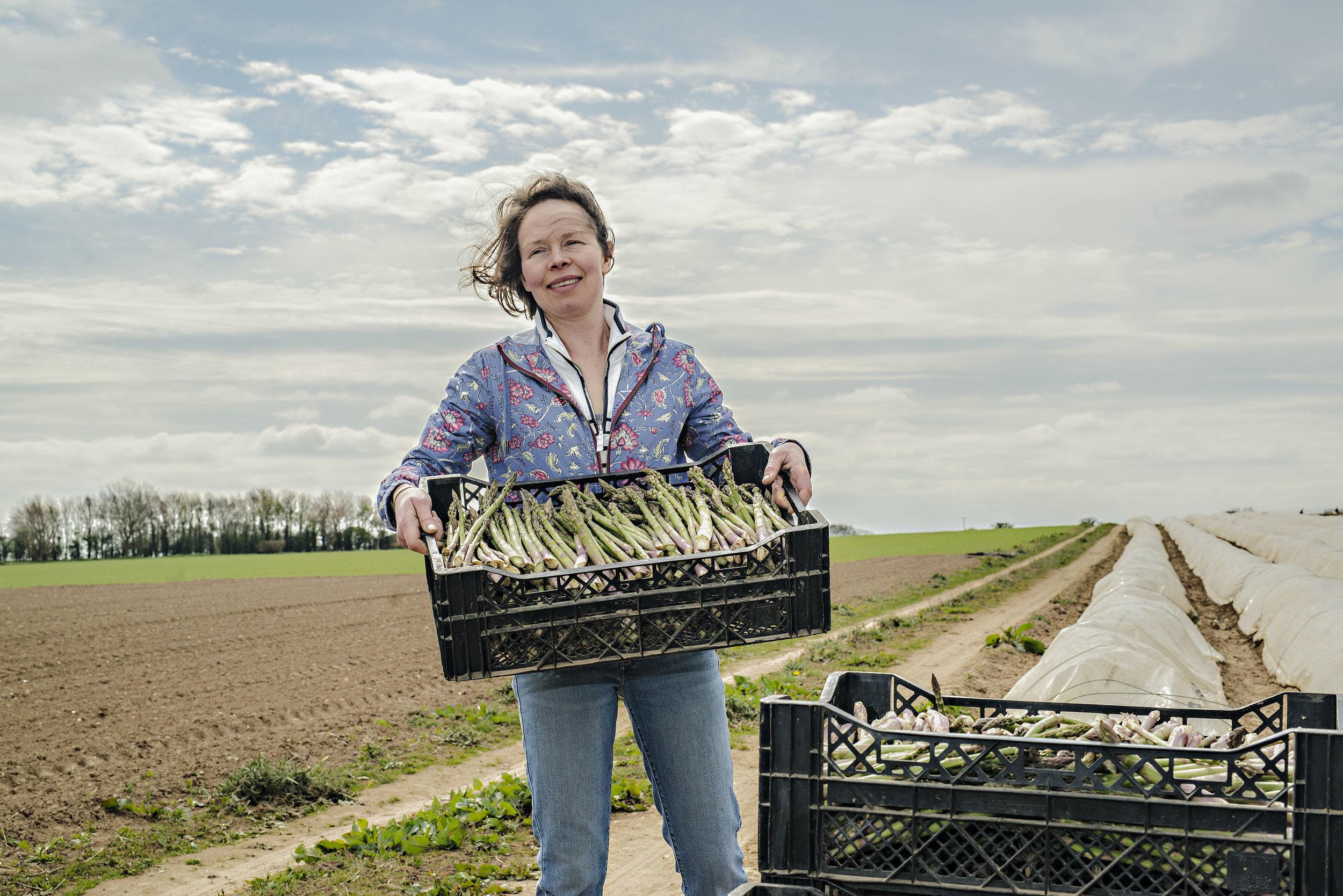 Asparagus grower Emma Tacon on her farm in Great Yarmouth.