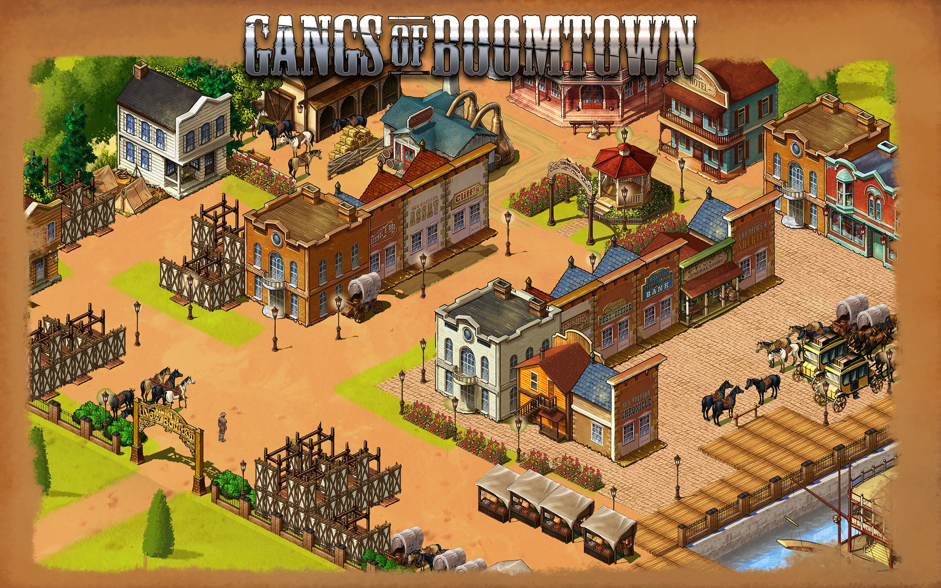 Gangs of Boomtown - Digital Chocolate, 2011Social game take on the Spaghetti Western theme. Boomtown was an idyllic and peaceful settlement on the edge of the frontier – until the ruthless Assassins Gang rode into town and wreaked havoc.