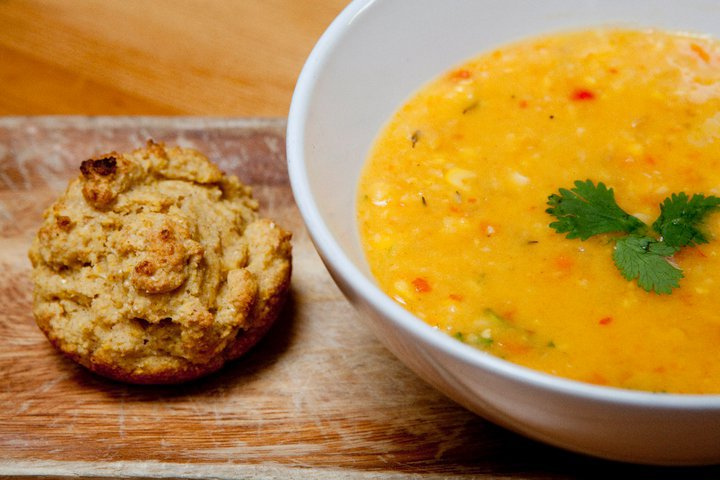Cowboy Corn Soup - Corn is such a Thanksgiving food. Personally, we love squash soups at Thanksgiving. But a great corn soup alongside our meal—or even to start it—is lovely too. If you're looking for a different corn recipe this year, consider this one. It's got some kick, some color and good texture. Pro Tip: While the recipe doesn't call for it, you can purée the ingredients into more a squash soup-like texture, rather than serving it more brothy with floating veggies. After Step 5, let it cool and then transfer the mixture into a food processor (a little at a time). Return it to the pot and reheat before serving. (The soup can be made ahead and stored in the fridge until it's time to reheat. No problem).