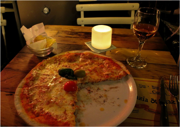 Pizza and wine for one!