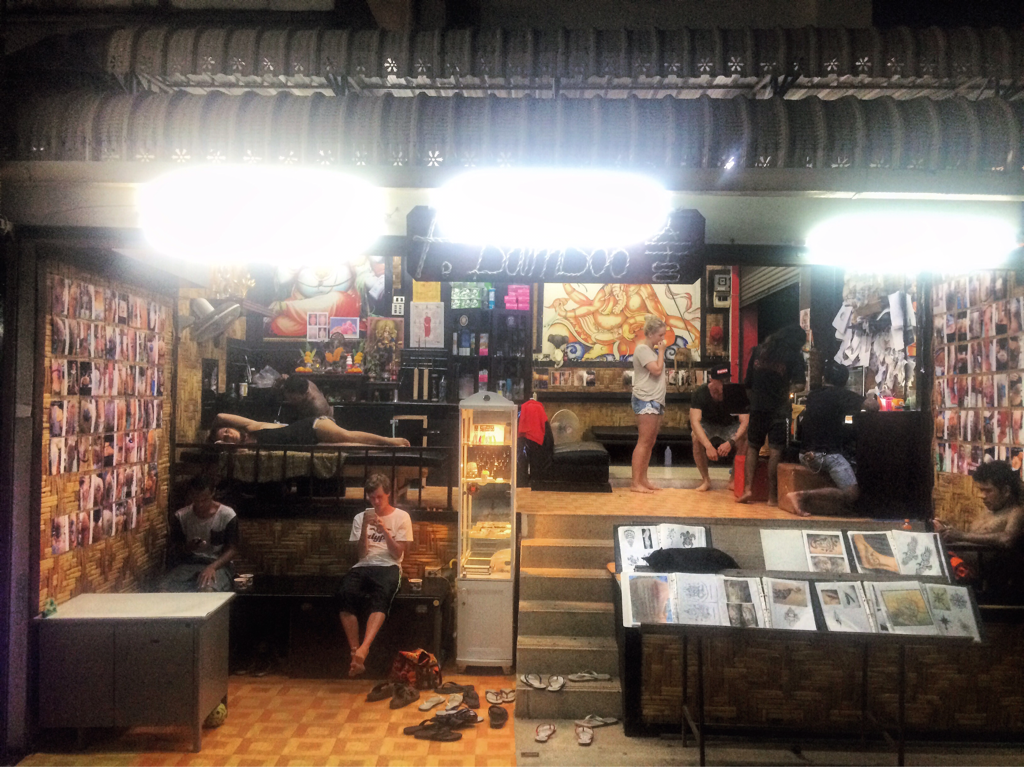 The tattoo shop on Phi Phi. That's me laid out on the table for all to see.