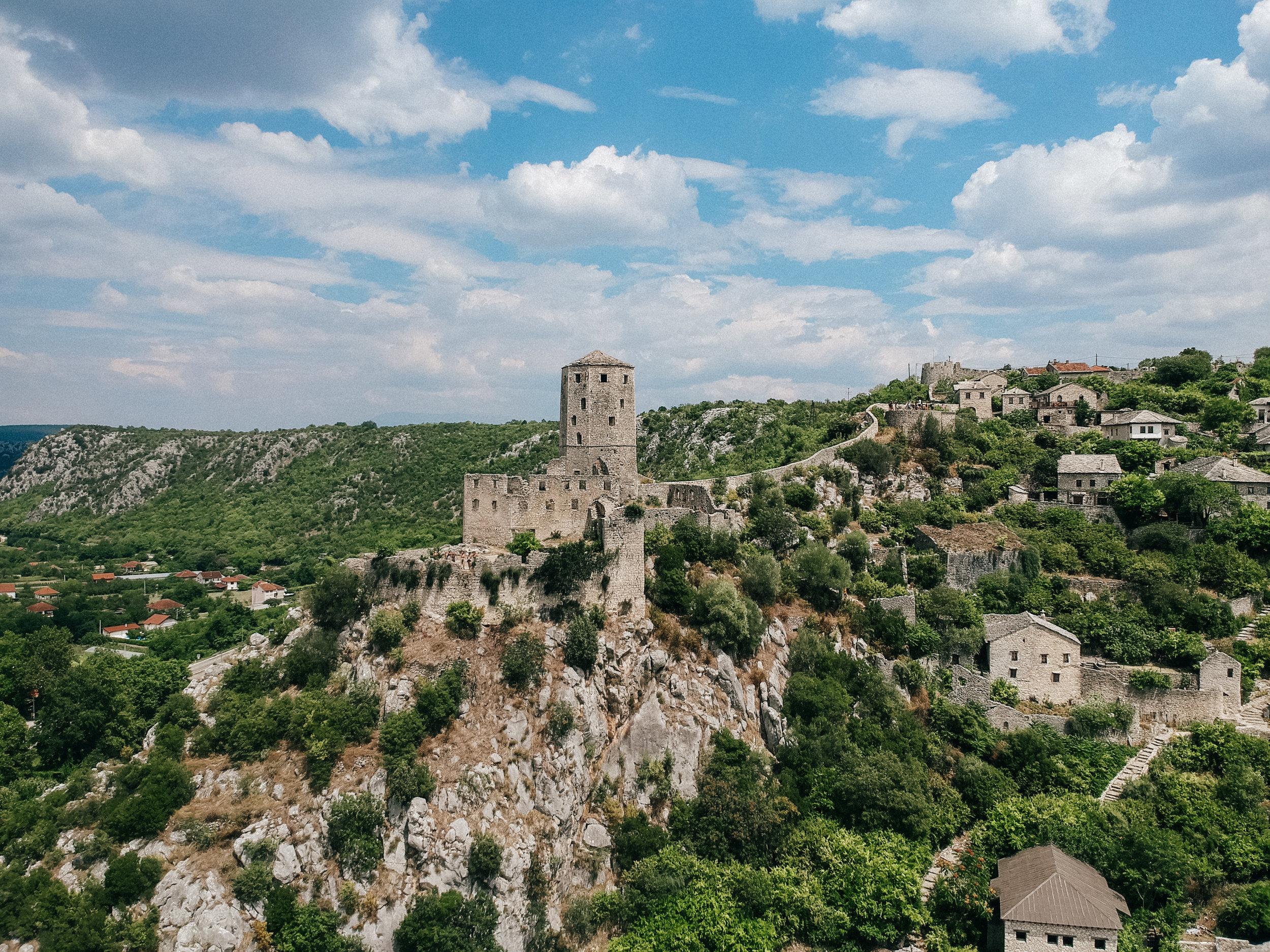 Počitelj Fortress (drone view)
