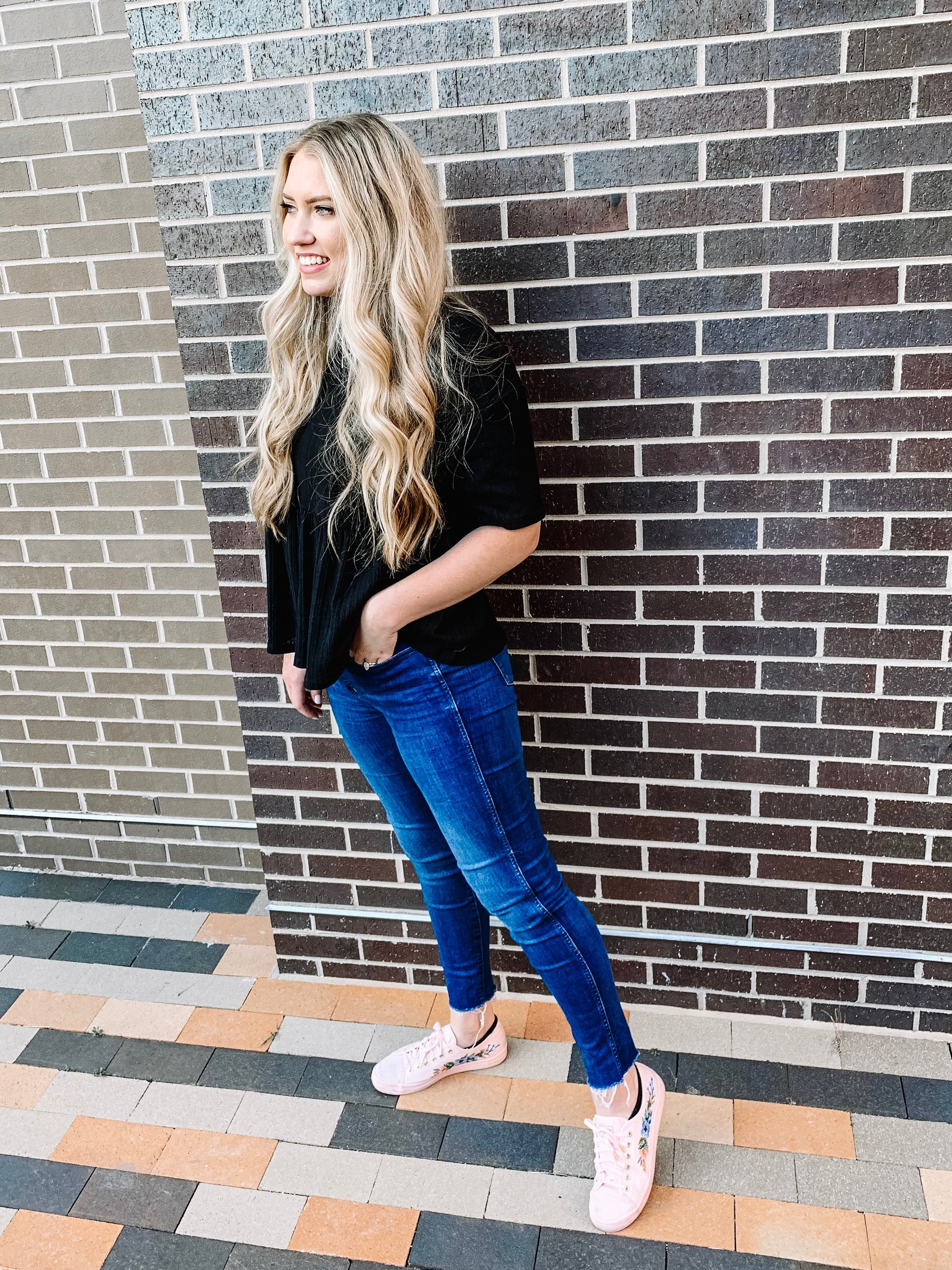 Top:  similar  / Denim:  here  / Shoes:  here  / Initial Necklace:  here