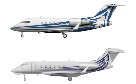 Large-cabin Bombardier Challenger 650 (top) and super-mid Challenger 350 (bottom)