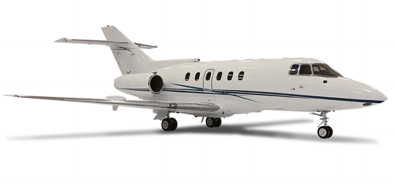 The midsize  Hawker 800  delivers exceptional value for short to medium-range flights. Over 650 were built. It commonly charters out at rates below competing aircraft in its class, particularly newer types.