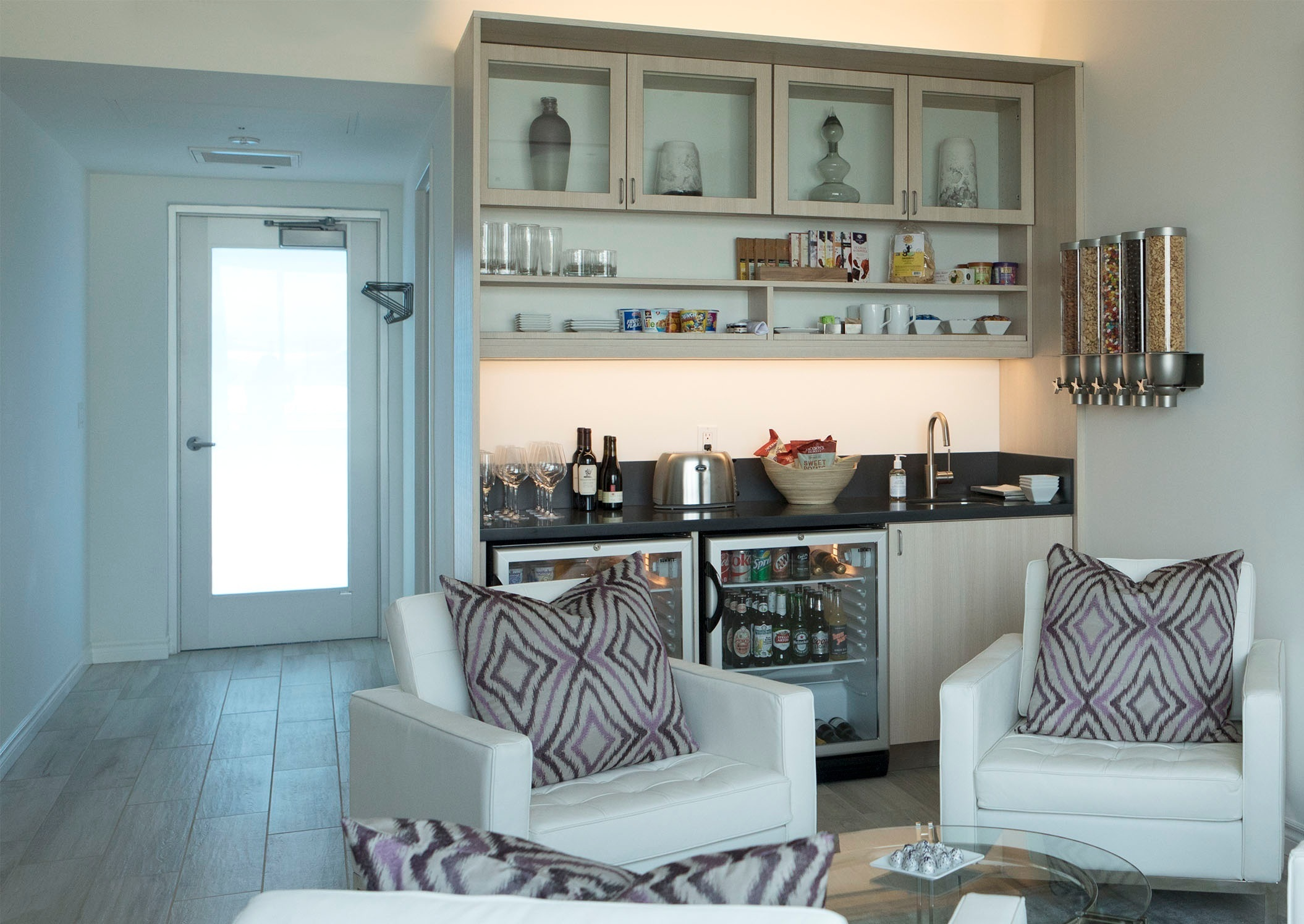 Each suite comes with a fully stocked pantry,