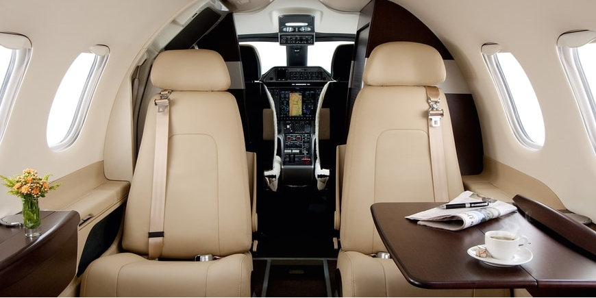 Tall seats and an interior designed by BMW make the Phenom 100 quite comfortable overall.