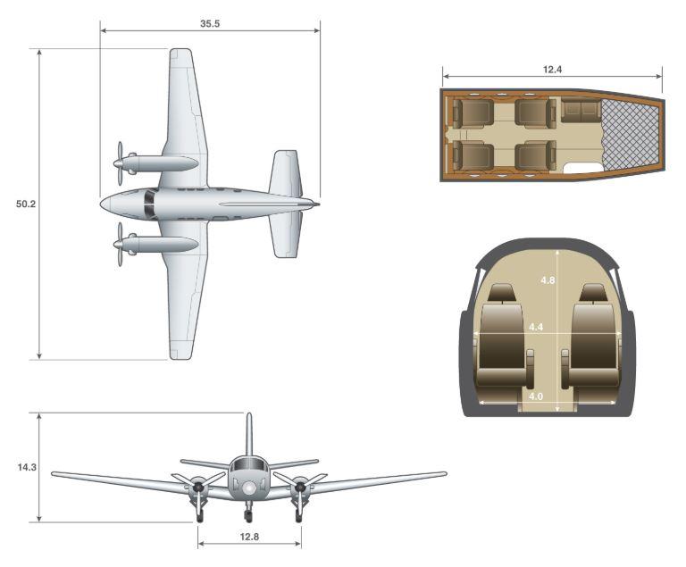 King Air C90B dimensions.JPG