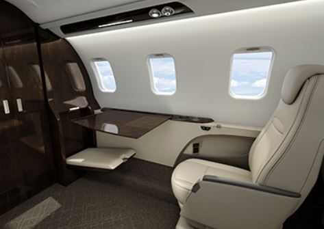 """The """"Executive Suite"""" forward cabin of the Bombardier Learjet 75 Liberty.  Bombardier photo."""