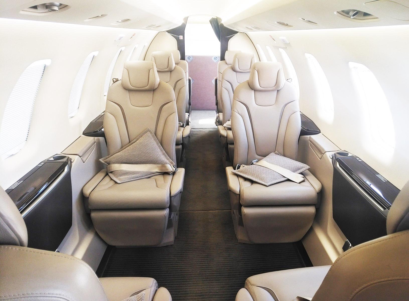 The spacious interior of the Pilatus PC-24