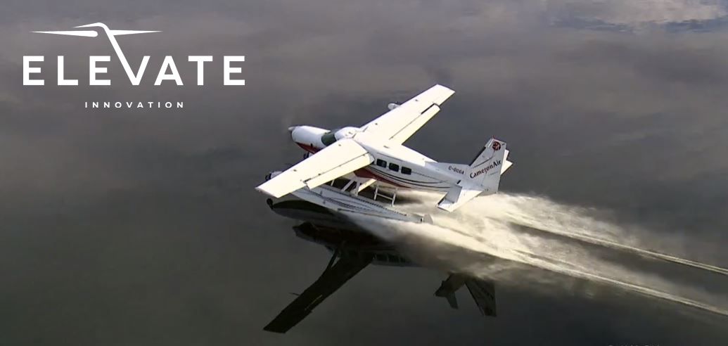 A Cessna Caravan lands on a lake in the Muskoka Region of Ontario during filming of the finale for The Amazing Race Canada, Season 7. Photo credit: Chris Chanda, Aerial Camera Operations.