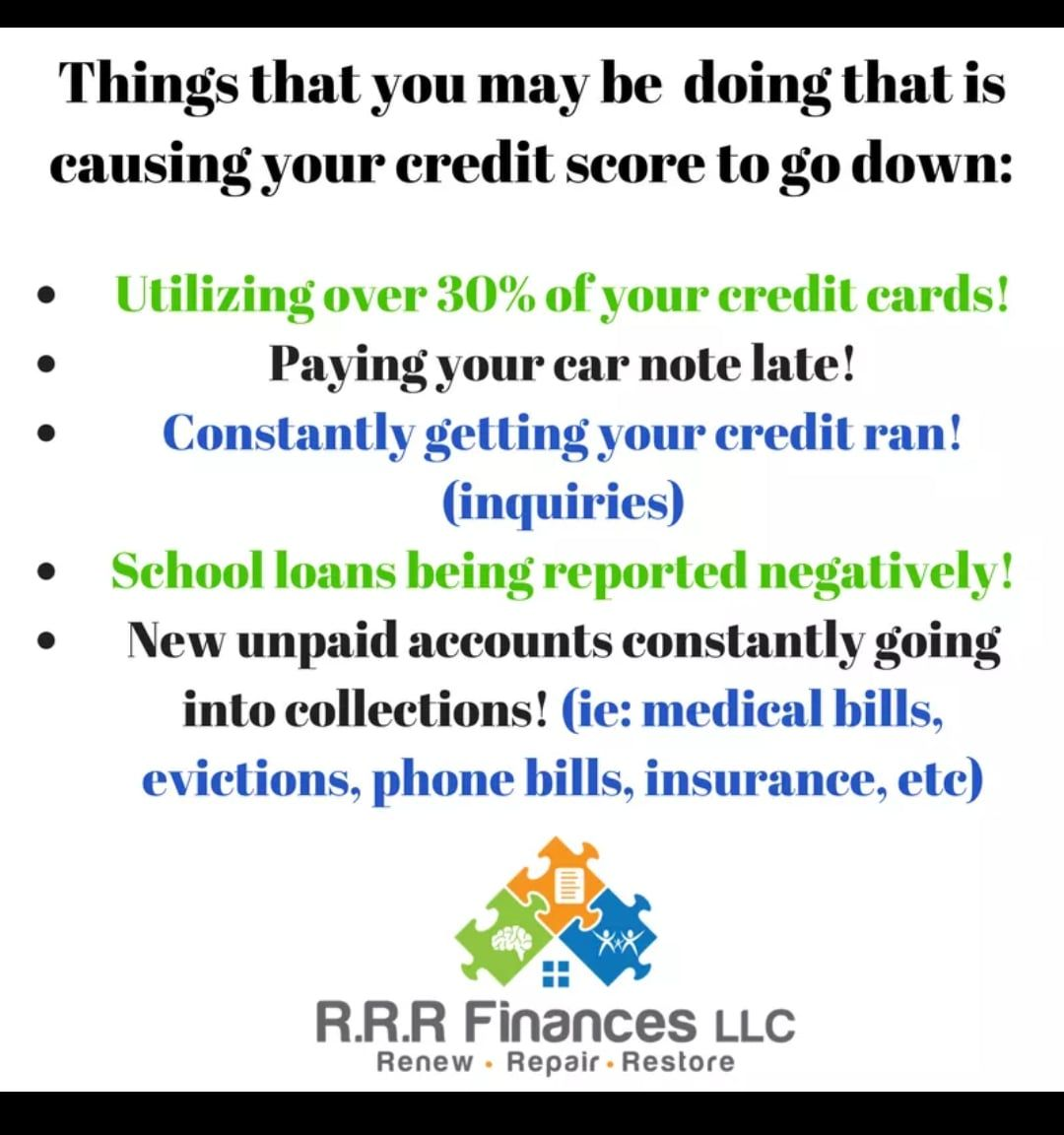 RRR Finances LLC Things you may be doing that is casusing your credit score to go down.jpg