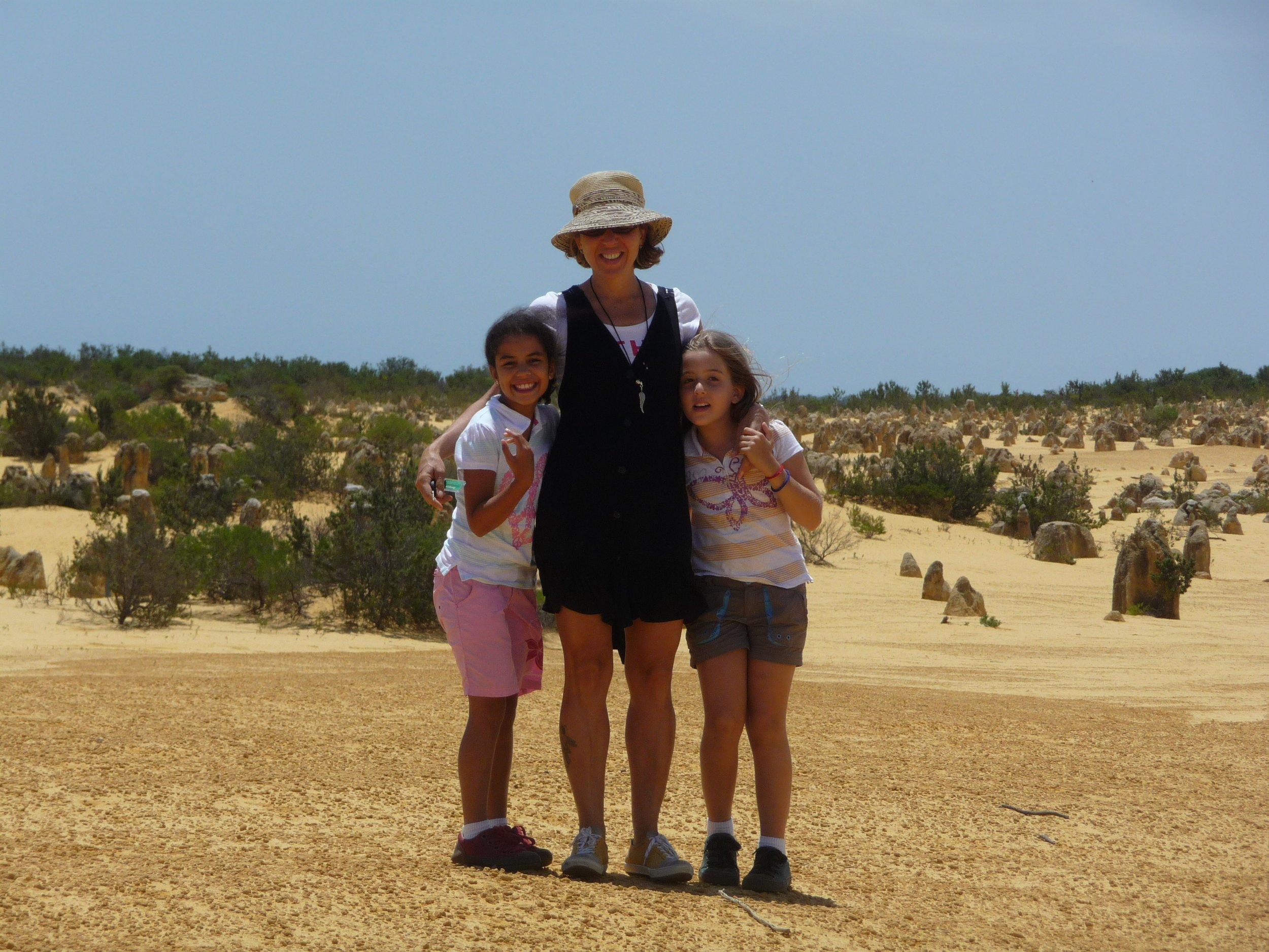 Claudia with daughters Clara and Raquel in Western Australia