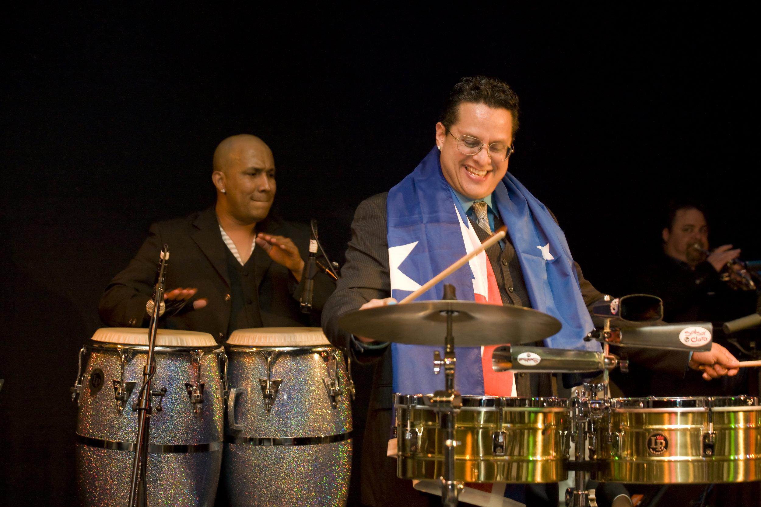 Hugo performing with Tito Puente Junior in his Australian tour. Photo courtesy of Gabriel Rivera -