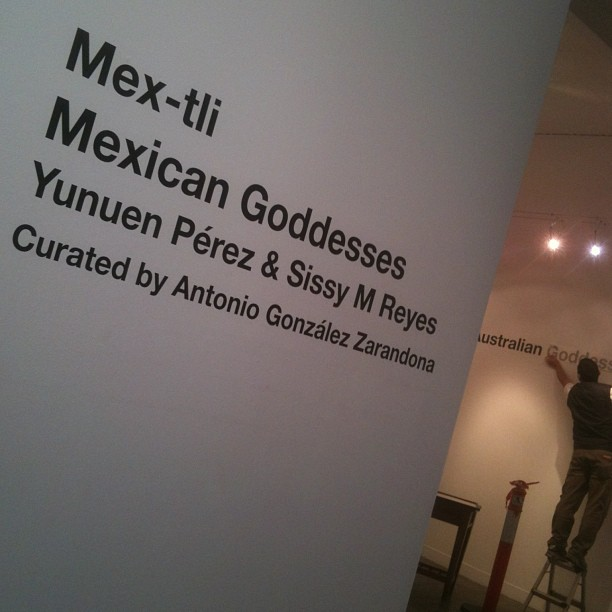 During the opening of one of Yunuen's exhibitions at Melbourne's gallery forty five downstairs. Mex-tli, Mexican Goddesses. Created by Yunuen Pérez and Sissy M Reyes. Exhibition Opening. Photo by Jean-Marc Girard, Imagery (2013).