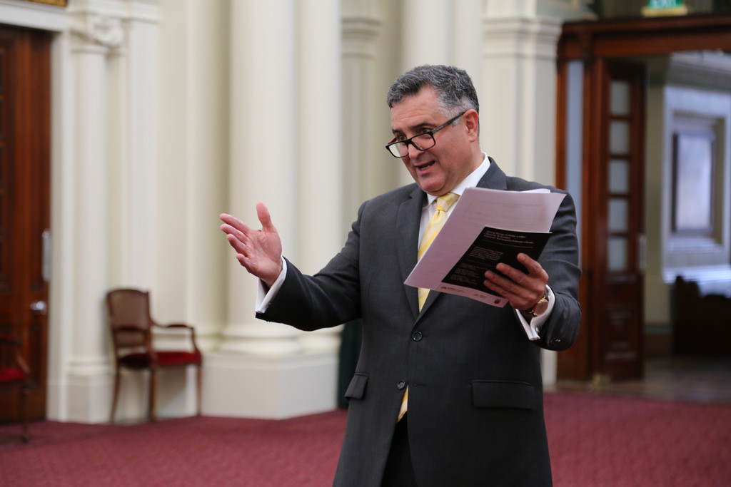 Telmo giving a speech at the Victorian Parliament