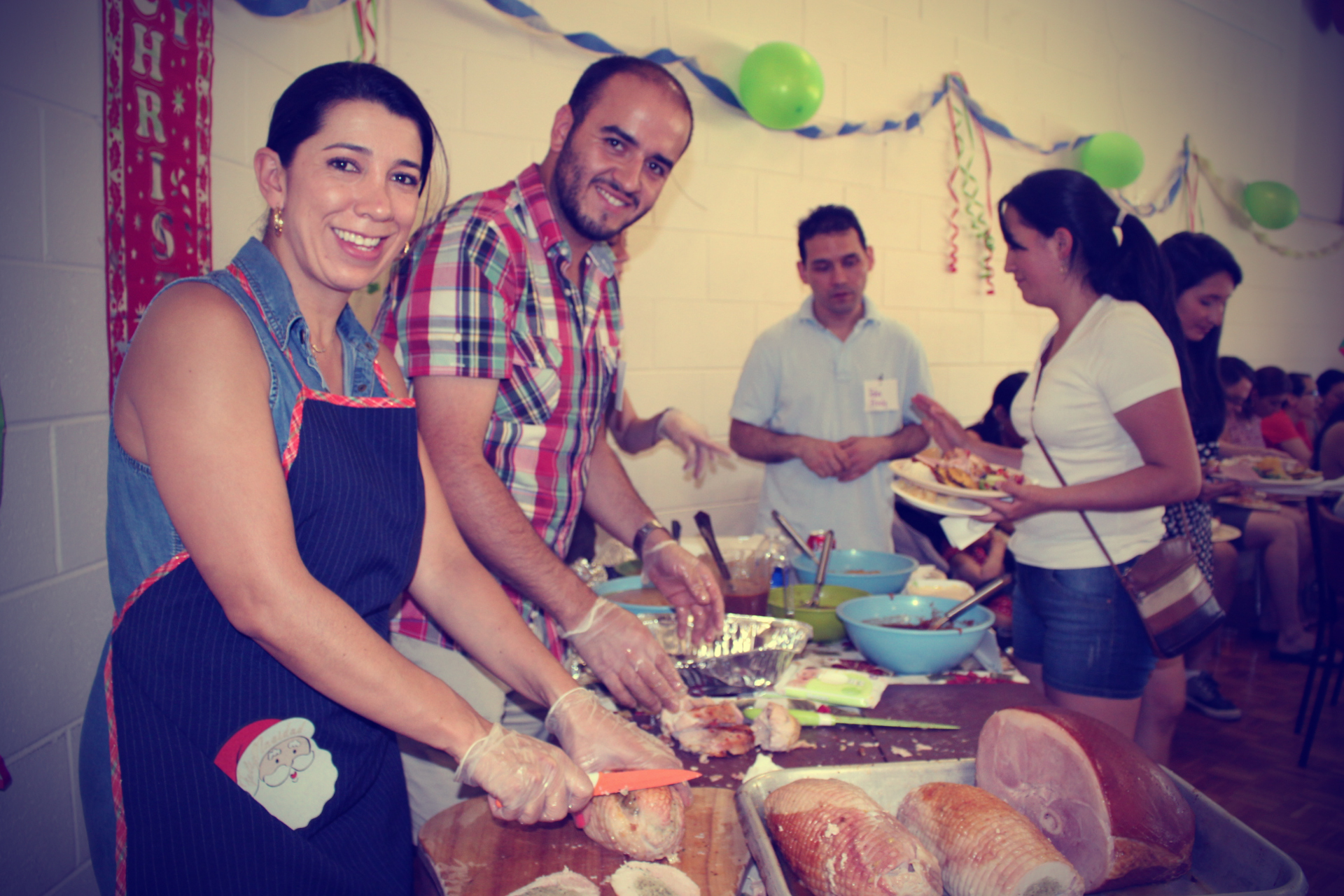 Christmas Day 2015, Angelica with Chilean volunteer Carlos Cid, a student at Melbourne University who has now returned to Chile.