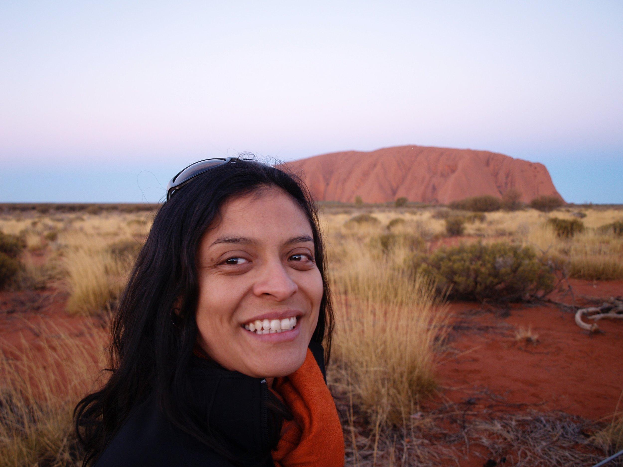 Glenda at one of her favourite places in Australia: Uluru