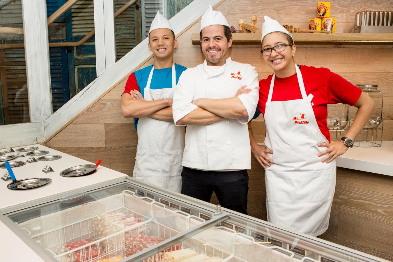 From left to right: Co-founder of ChillBro! Paletas Matt Liang, Juan Pablo,and one of the staff at ChillBro! Paletas