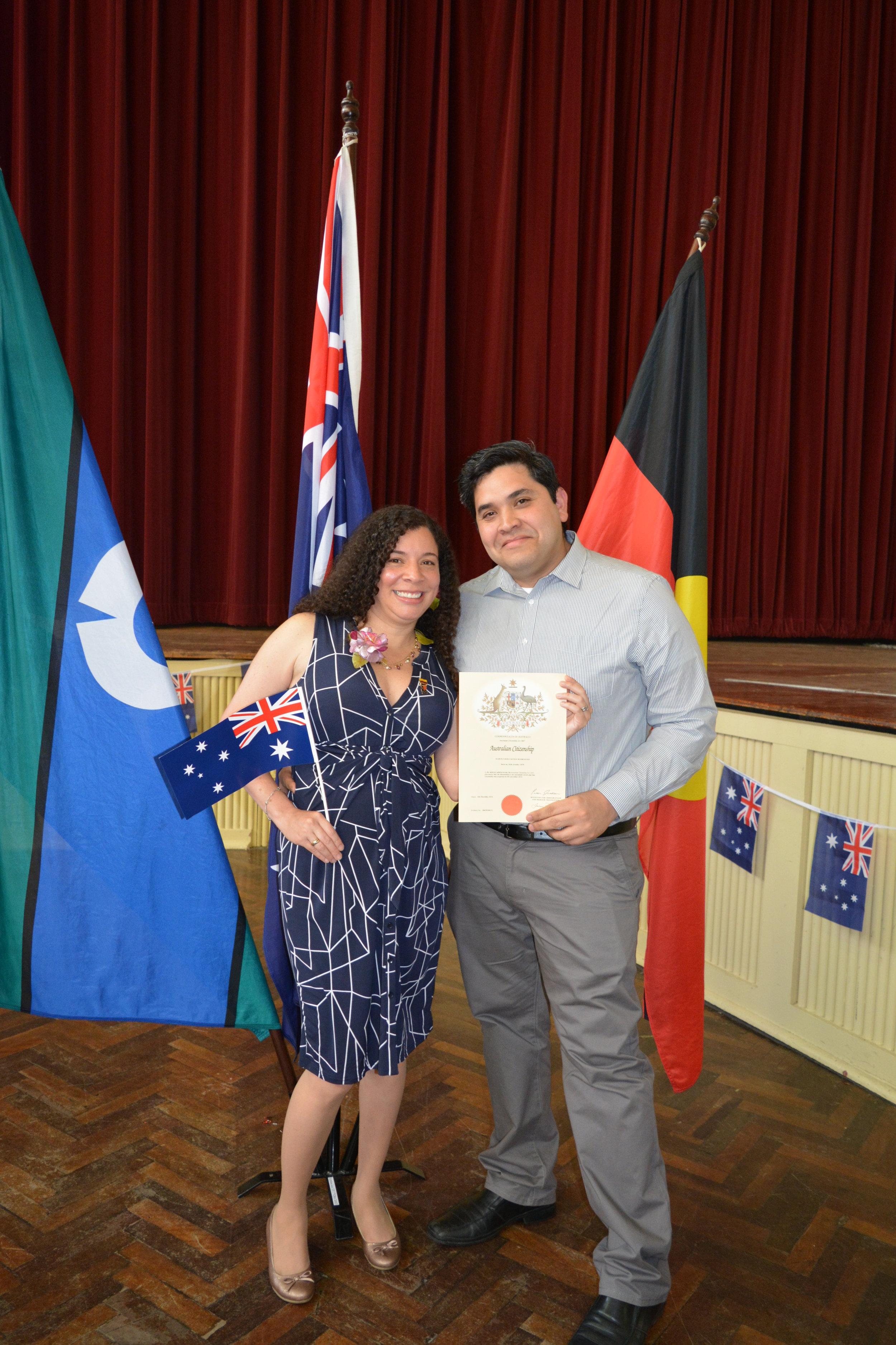 Karina and Juan David at her Australian Citizen ceremony in December 2016