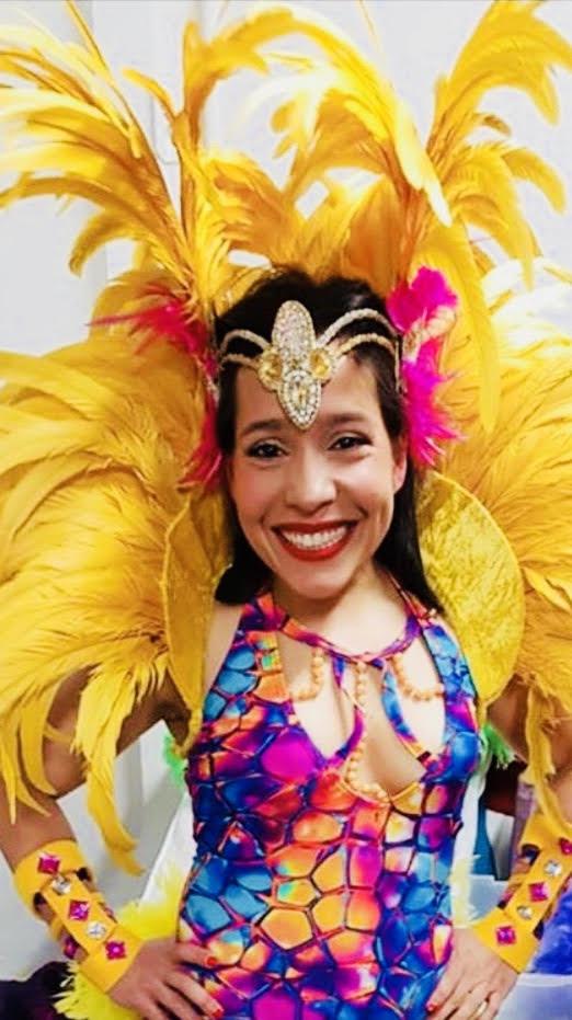 Libertad in samba gear for a fundraiser charity performance.
