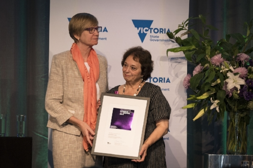 Rafaela receiving from late MP Fiona Richardson her induction document into the Victorian Honour Roll of Women 2017.