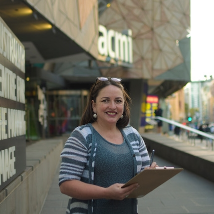 Eliana Jones - Country of origin: Bolivia.Occupation: Director of Filmoteca & Event Manager. State of Residency: VIC. Favourite place in Australia: Melbourne, in particular Federation Square. Biggest surprise when arriving to Australia: Lemons are yellow and limes are green. (Photo by Juan Francisco Boada)