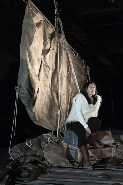 Yunuen in the set she designed for 'Exodus' at the Bone Marrow Theatre. Photo by Sergio Villaseñor (2013)