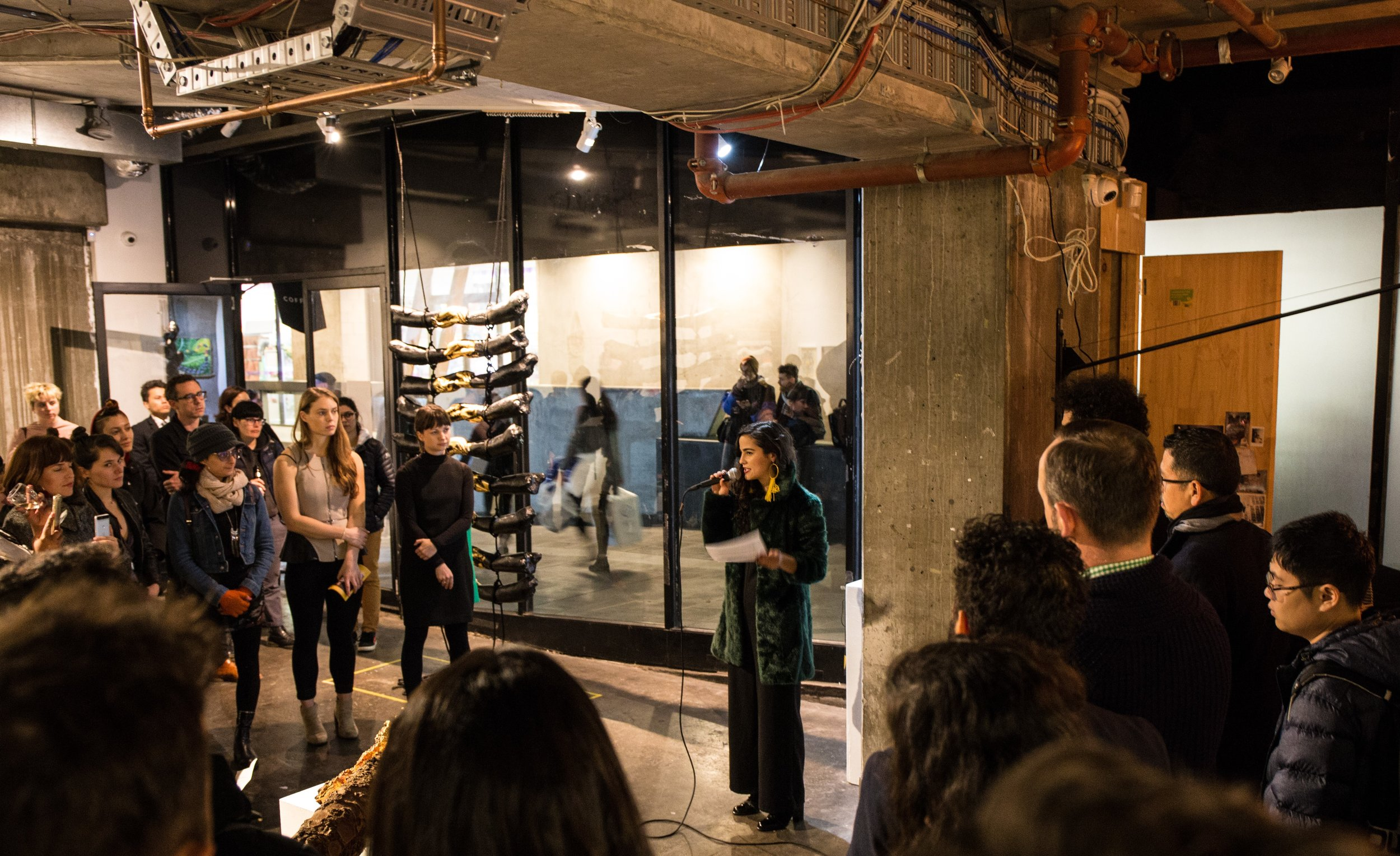 During the opening of the first group art exhibition of La Niña Project. Photos by Eri Brody