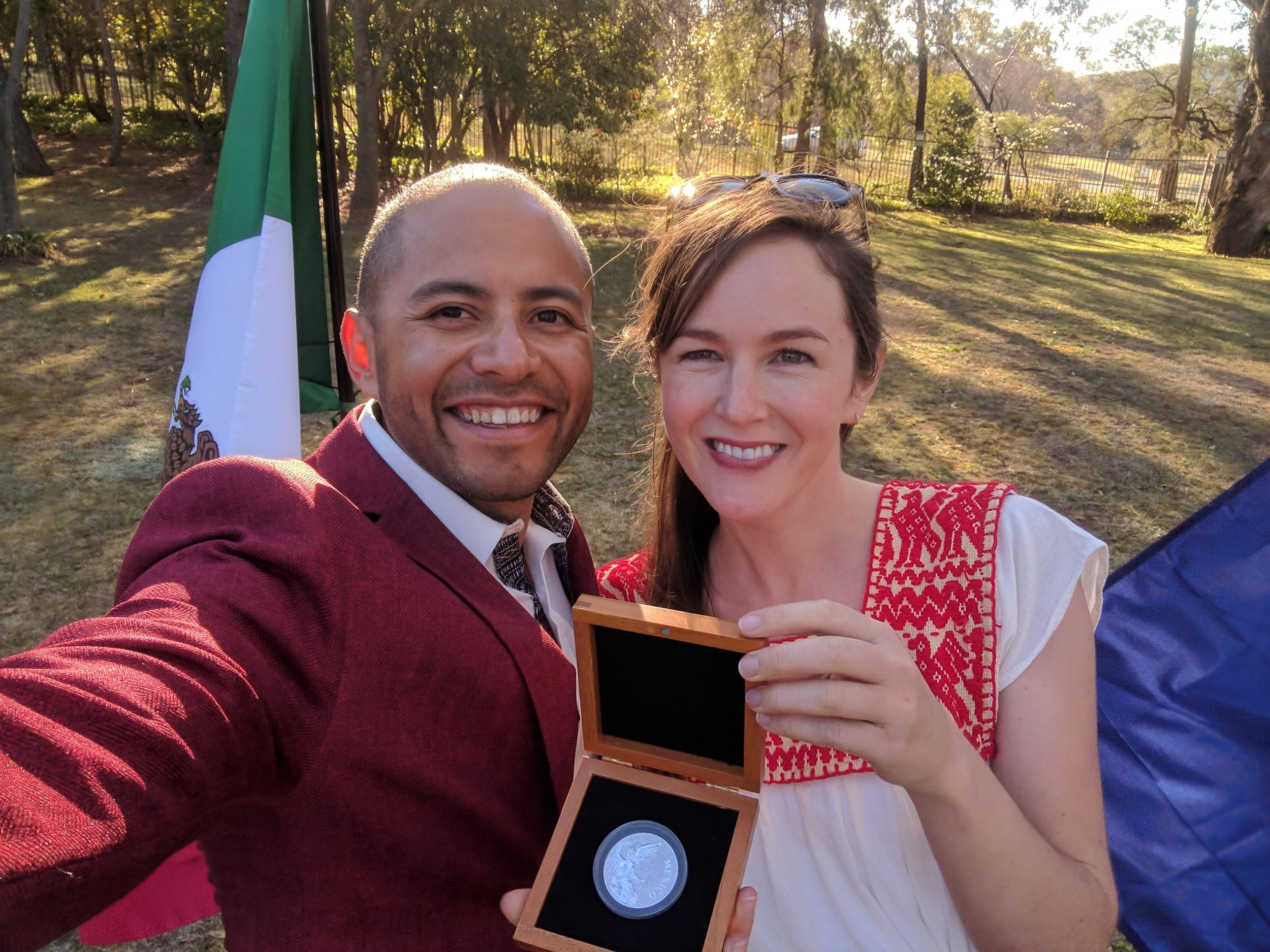 Gerardo and Diana - The day Gerardo was awarded the Mexican Federal Government's award for Outstanding Mexican Abroad