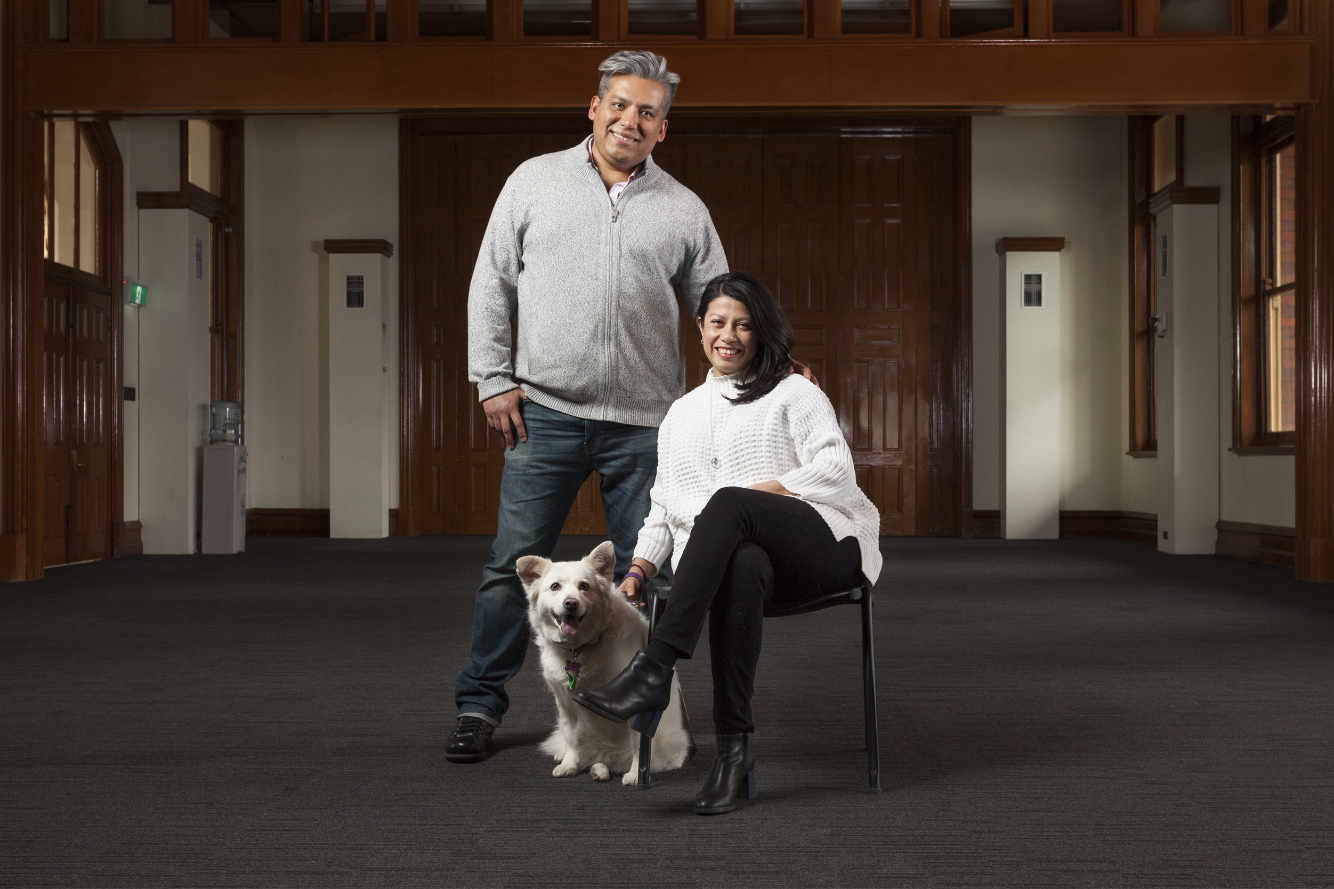 López Hernández family.   Gabriela arrived in Melbourne in February 2011 following a transfer with her company, Microsoft. She settled in a new home in a leafy suburb in the city fringe. Her partner Roberto joined her later that year. He now works in Telstra as an IT specialist. In Mexico, Gaby and Roberto rescued homeless dogs and cats and adopted some of them. Matilda in the photo is one of their rescued pets. Mati, as they lovingly call her, came over from Mexico after being quarantined in San Francisco and Melbourne. Matilda was reunited with Gaby and Roberto in June 2012.