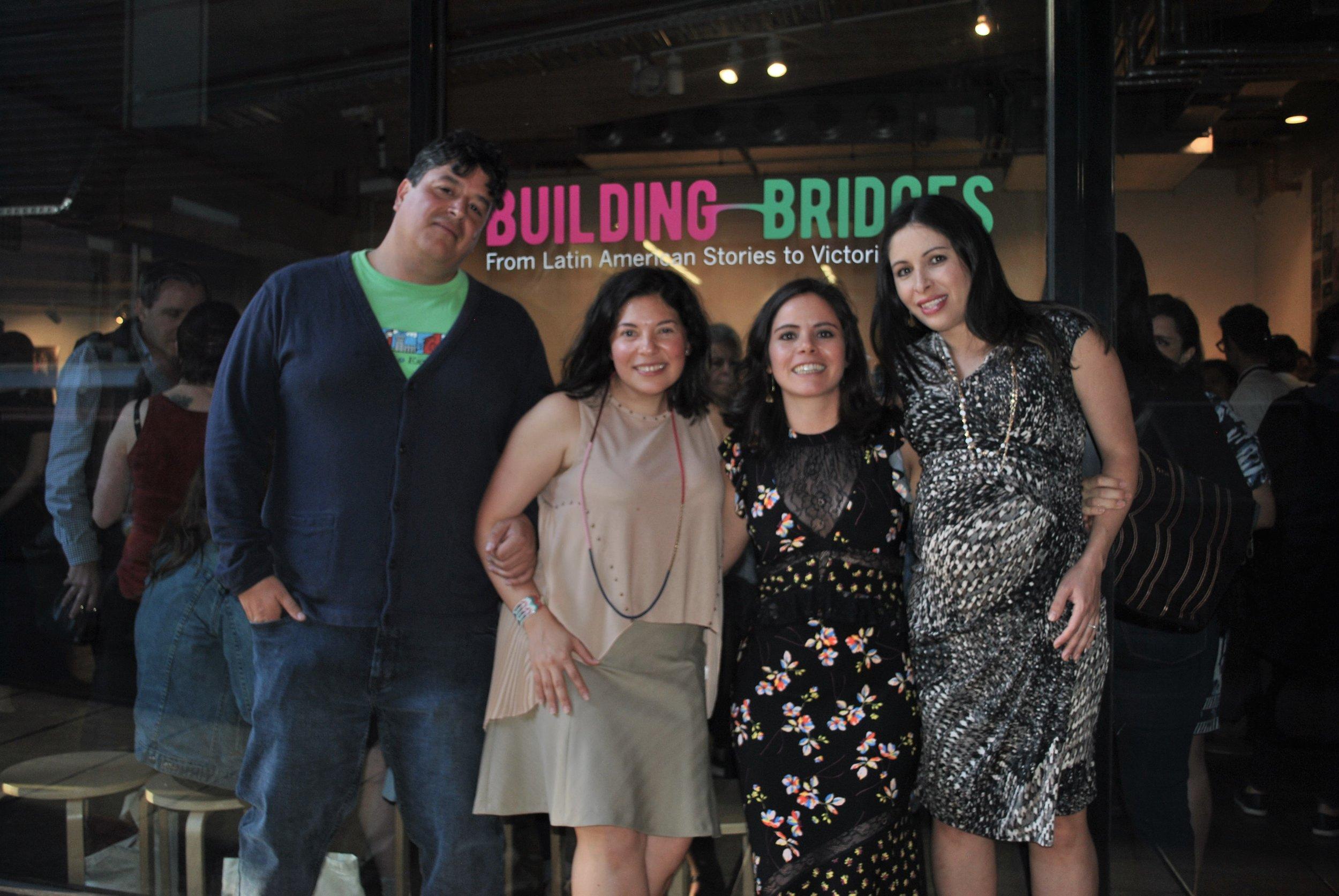 The Building Bridges team: ( from right ) Cristina Abela, Trini Abascal (Directors and Founders, Latin Stories Australia), Yunuen Perez and Antonio Gonzalez (curators).