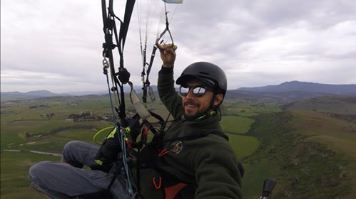 - Juan Pablo paragliding in Tasmania