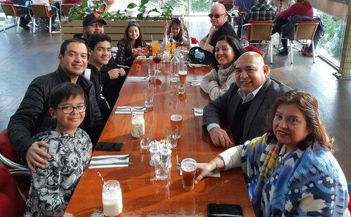 Family get together with the kids and grandkids. Left to right. Enrique, Cesar, Antonio, Vinicio, Aaliyah, Sofia, Michael Brearley, Lisette, Wilfredo, Ana Concepcion. Tosaria Restaurant Rowville June 2021